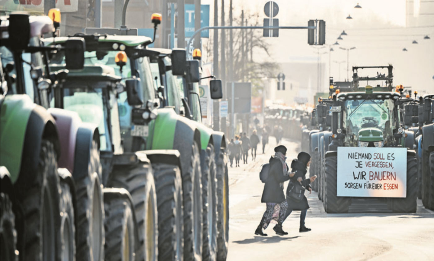 Protest mit Traktor